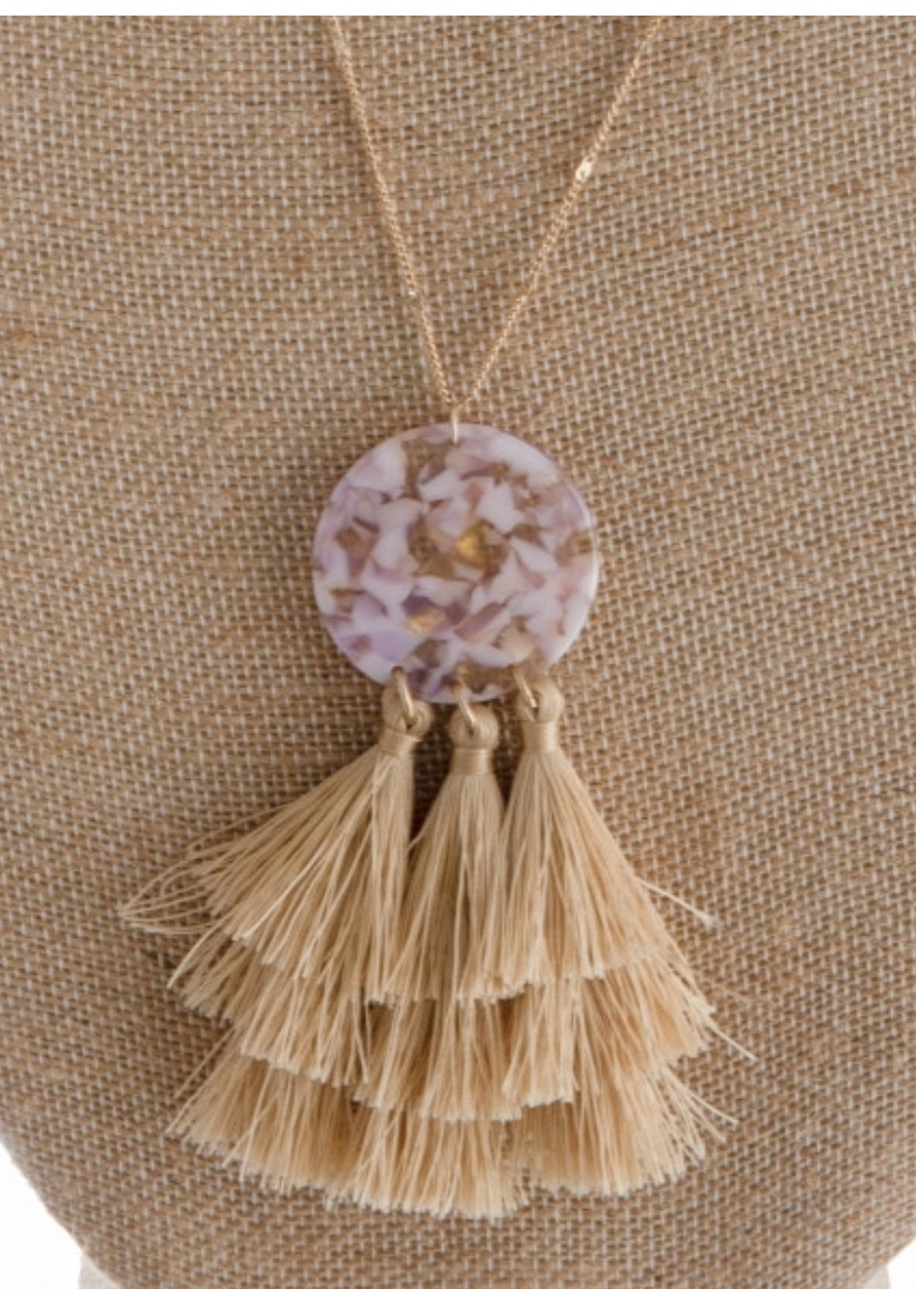 Natural Tones Tassel Necklace