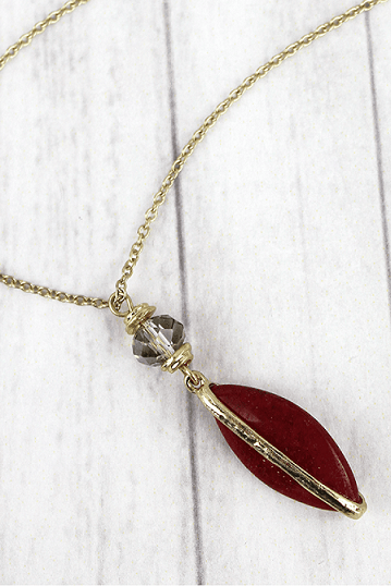 Red Gemstone Marquise Pendant Necklace
