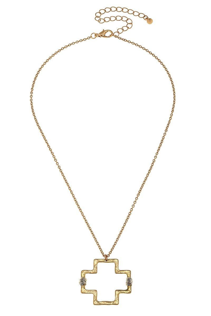 Wire Wrapped Goldtone Square Cross Pendant Necklace