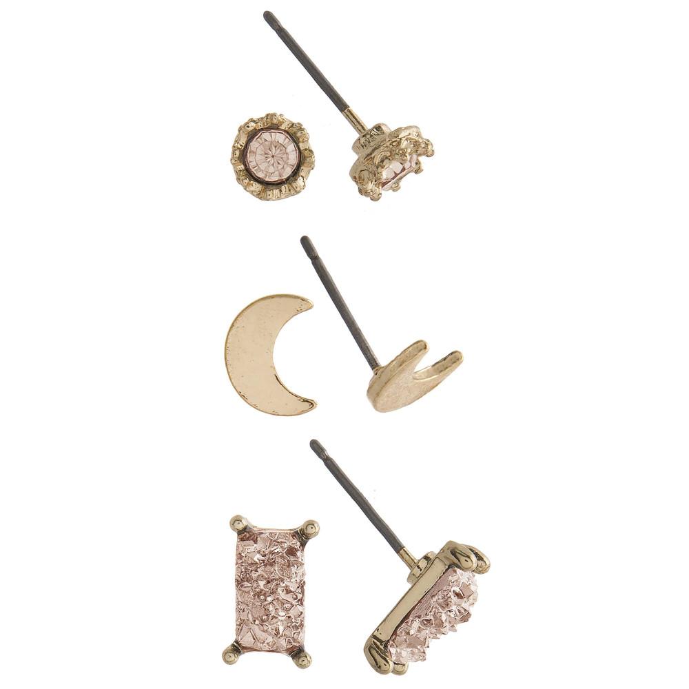 Stone Stud Earring Set