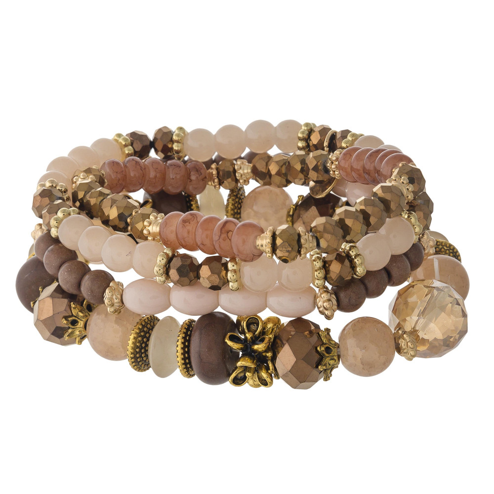 Brown Beaded Stretch Bracelet Set