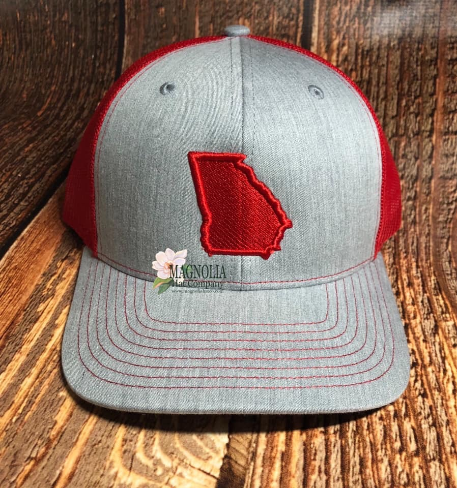 State of Georgia Grey Hat / Red filled