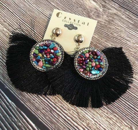 Fan Tassel Earrings with a Beaded Accents