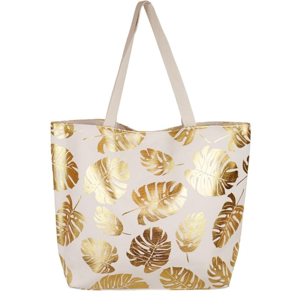 White and Gold Leaf Tote