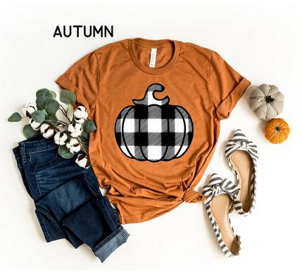 Buffalo Check Pumpkin Tee