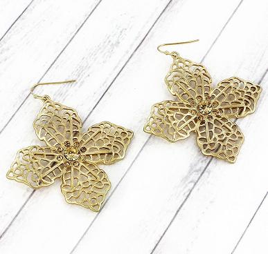 Goldtone Cross Earrings with Rhinestones