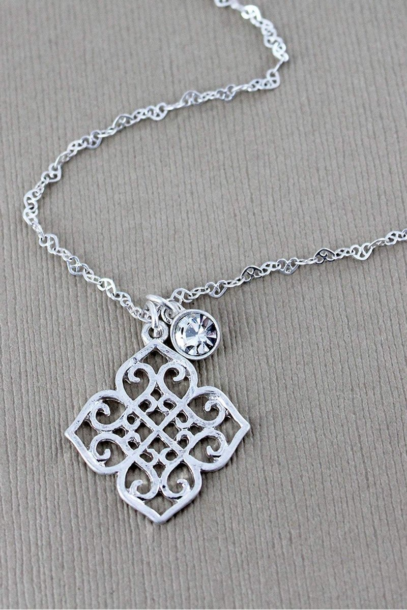 Silver Filigree Quatrefoil and Crystal Necklace