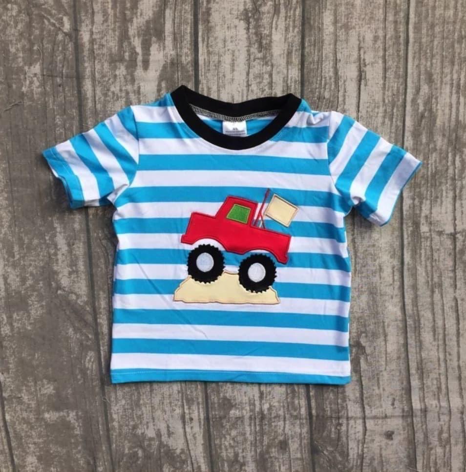 *boy* Blue Striped Truck Top