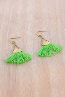 GREEN FAN TASSEL WORN GOLDTONE CHAIN EARRINGS