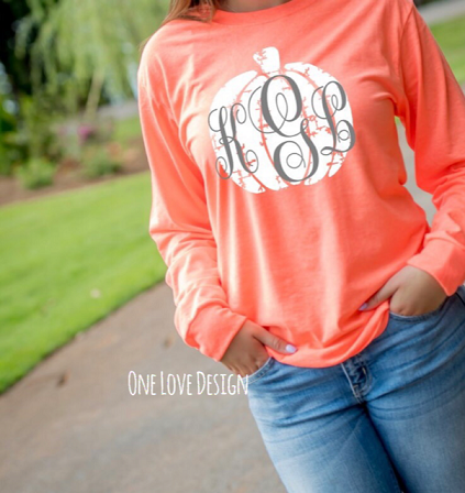 Distressed Pumpkin with Initials tee
