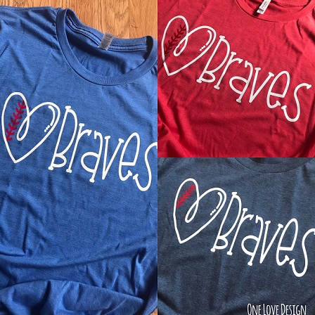 Braves with baseball heart Tee