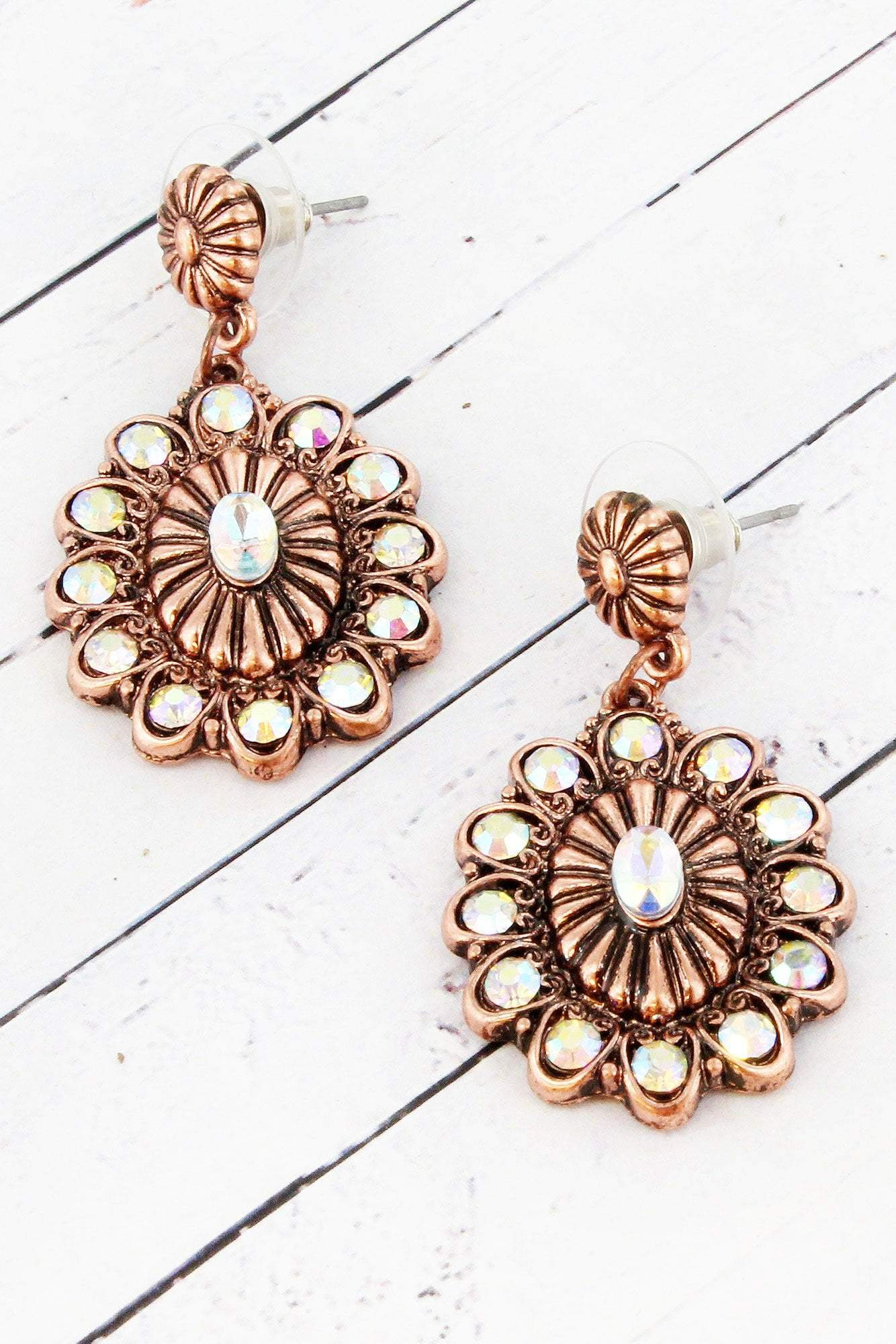Iridescent Crystal Accented Burnished Coppertone Earrings