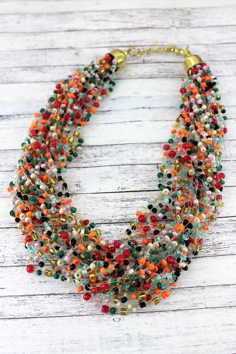 Layered Multi-Color Seed Bead Necklace
