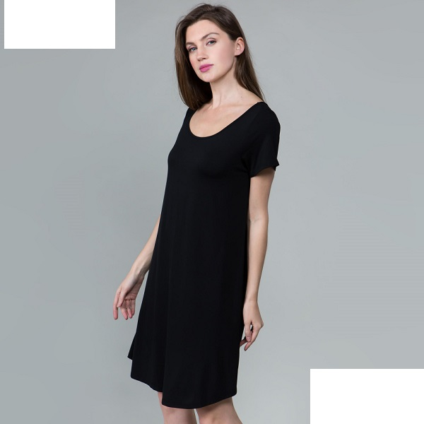 Black Tunic Top with Cut Out Back