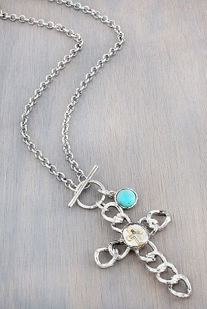 Silvertone Chain Cross and Turquoise Bead Pendant Toggle Necklace