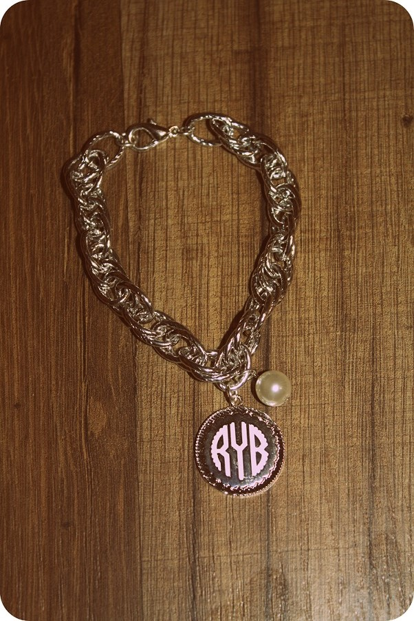Silver Chain Bracelet with Pearl & Monogram Charm