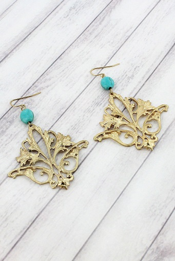 Turquoise Bead and Worn Goldtone Vintage Flower Earrings