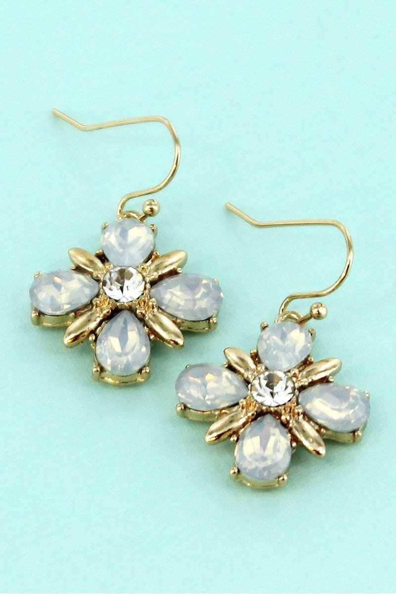 White Crystal and Goldtone Flower Earrings
