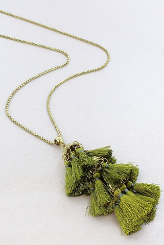 Olive and Gold Layered Multi Tassel Neckalce