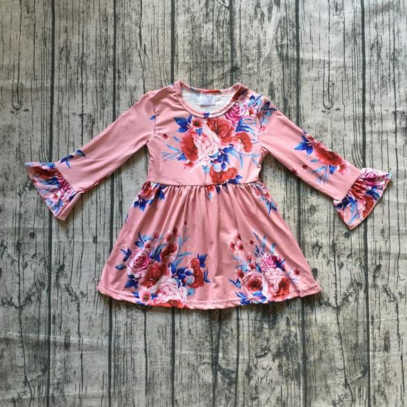 Pink Floral Ruffle Sleeve Dress
