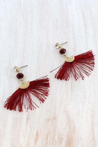 Crystal & Bead Accented Burgundy Fan Tassel Earrings