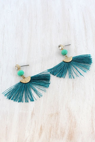 Crystal & Bead Accented Teal Fan Tassel Earrings