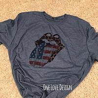 Leopard and American Flag Sublimation Tee