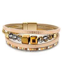 GOLD GLASS CUBE BEADED MULTI-STRAND MAGNETIC BRACELET