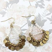 White Faceted Bead and Goldtone Disk Trapeze Earrings