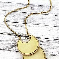 IVORY WOOD AND GOLDTONE TIERED CRESCENT DISK NECKLACE