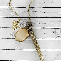 IVORY DRUZY HEXAGON AND GOLDTONE SPEAR MULTI-PENDANT NECKLACE