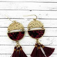 BURGUNDY SNAKESKIN SPLIT DISK TASSEL EARRINGS