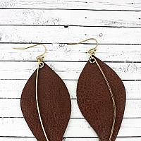 GOLDTONE AND BROWN FAUX LEATHER LEAF EARRINGS