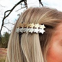 CRAVE HAMMERED TWO-TONE STAR HAIR BARRETTE SET
