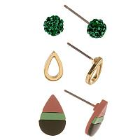 Green and Peach Earring Set