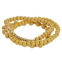 Wooden beaded stretch bracelet with gold bead focal detail.
