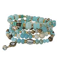 Aqua beaded stretch bracelet set