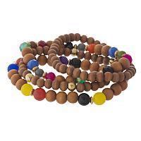 Dark Wood and Multi Colored Beaded Bracelet Set