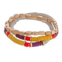 Purple, Yellow and Red Stretch Bracelet Set