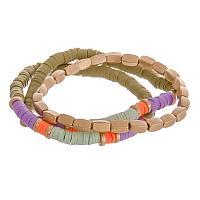 Olive, Orange and Blue Stretch Bracelet Set