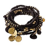 Black Bead with Gold Accent Charm Set
