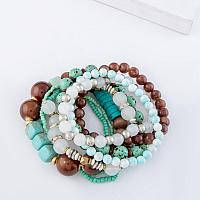 Mint and Brown Multi Strand Set