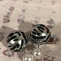 Black and White Dual ball earrings