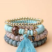 Blue Tassel Charm Beaded Bracelet