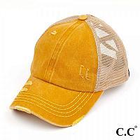 C.C Mustard Distressed Criss Cross Pony Cap with Mesh Back