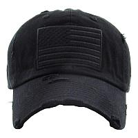Distressed American Flag Black Hat