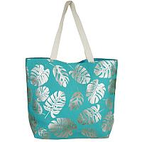 Blue and Silver Leaf Tote