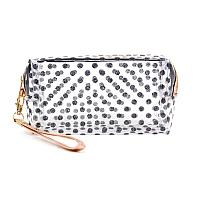 Clear glitter polka dot travel pouch