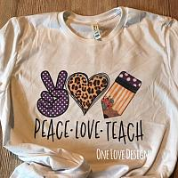 *Bella* Peace Love Teach Sublimation Tee