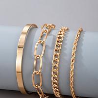 4pcs Minimalist Bracelet Goldtone